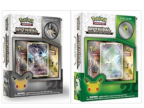 Pokemon TCG Arceus and Celebi Mythical Collection Box Bundle. 1 of Each Mythical Collection, including 2 Booster Packs from the Pokemon Generations 20th Anniversary Set and Rare Promo Card