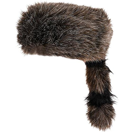 (Faux Racoon Tail Hat - Coonskin Daniel Boone Hats Funny Party Hats)
