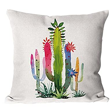 Cotton Linen Green plants Succulents Cactus Prickly Pear Square Throw Waist Pillow Case Decorative Cushion Cover Pillowcase Sofa 18 x 18  (4)
