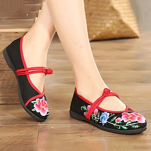 Tela de Zapatos Ocasionales de de Madre Planos Transpirable la Mujeres Color 36 de Tamaño Antideslizantes Zapatos XHX Las Bordados Negro Zapatos Negro Manera Zapatos la Negro tdqwtnZ8