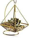 Cheap KooK Geometric Pyramid Hanging Terrarium With Stand – Gold