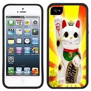 Lucky Cat Maneki Neko Handmade iPhone 5C Black Case