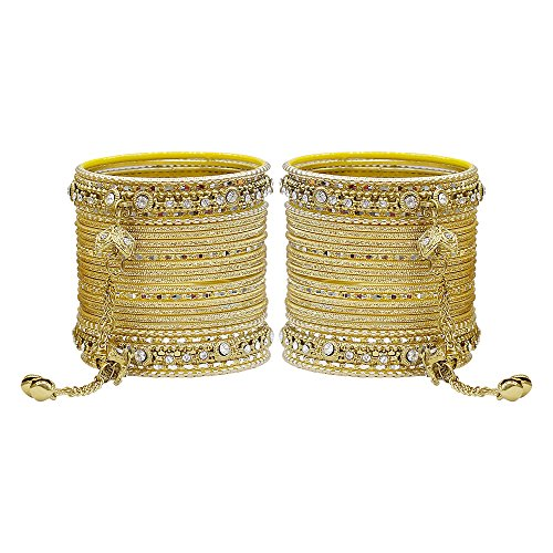 MUCH-MORE Gorgeous Collection Fashion Made of Latkan Bangles for Women & Girls (Golden, 2.8)