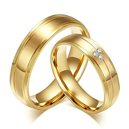 [Aooaz Free Engraving Ring 6mm Gold Plated Men Women Wedding Band Gothic Novelty Couples Ring Size] (Paper Bag Princess Couples Costume)