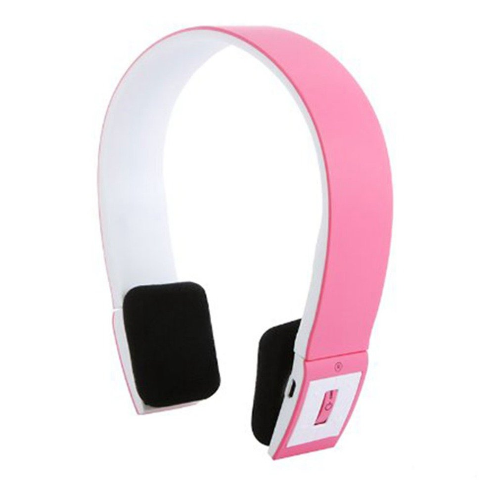 Bluetooth Headset Wireless USB Charge Surround Sound Noise Cancelling Over Ear Headphones for Laptop PC Desktop Computer iPhone BlackBerry Bluetooth Adapter MP3 Player (Pink) (Pink)