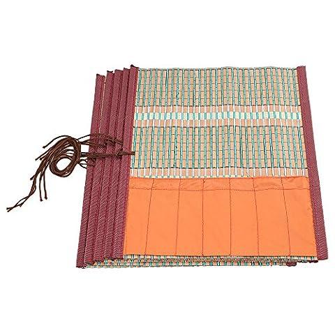 BQLZR 26 x 30cm Bamboo Cloth Portable Chinese Vintage Handmade Roll Up Brush Pen Case Holder Pack of (Bamboo Brush Pen)