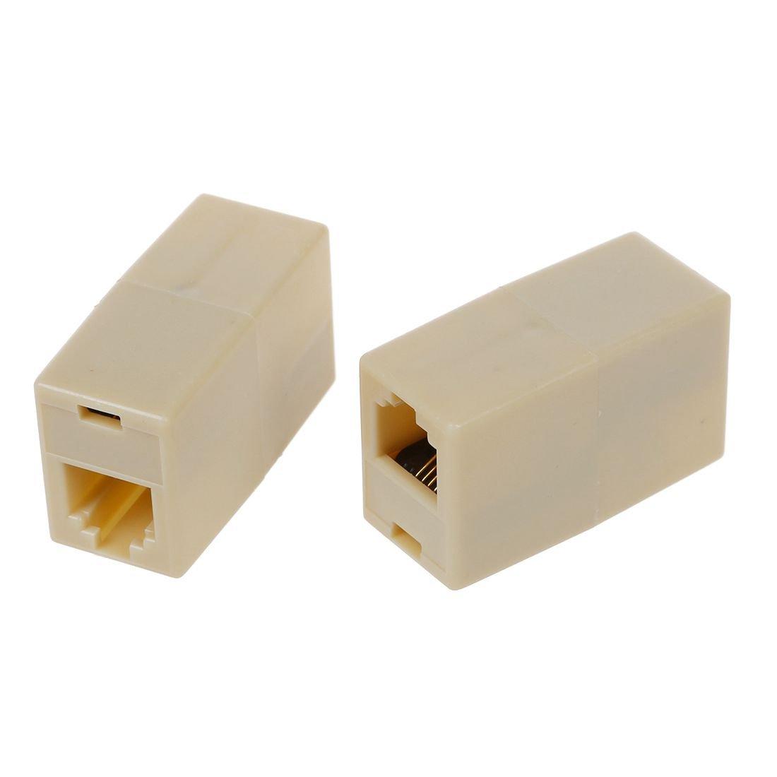 hembra Conector inline de cable de telefono TOOGOO 5pzs Beige Plastico RJ11 6P4C hembra R