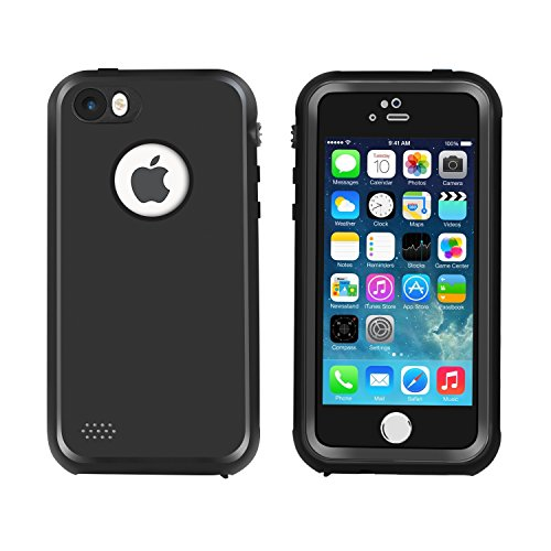 Waterproof iPhone 5/5s/SE Case, Eonfine Shockproof Protective Full-sealed Hard Cover, Underwater IP68 Certificated with Touch ID Snow Dust Dirty Proof Case for iPhone 5 5S SE Black