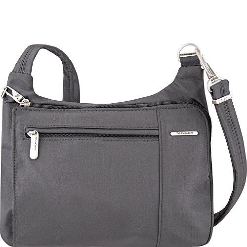 Travelon Anti-Theft Asymmetric East/West Bag - Small Nylon Crossbody for Travel & Everyday