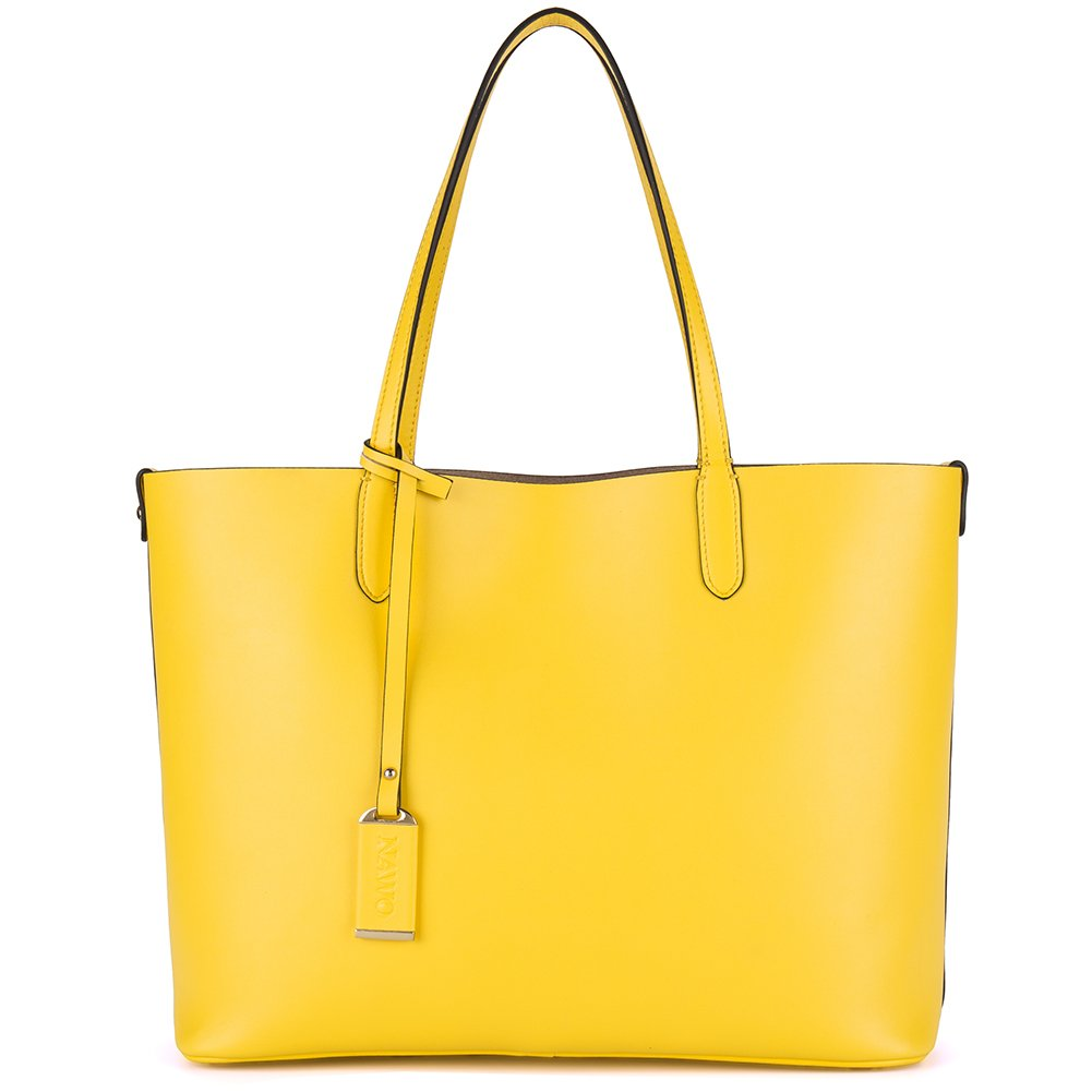 NAWO Handbag Women's Real Leather Tote Bag Fashionable Popular Commute All Seven Colors (Yellow)