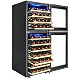 AKDY 73 Bottles Dual Zone Built-in Compressor Touch Control Adjustable Temperature Freestanding Wine Cooler Refrigerator