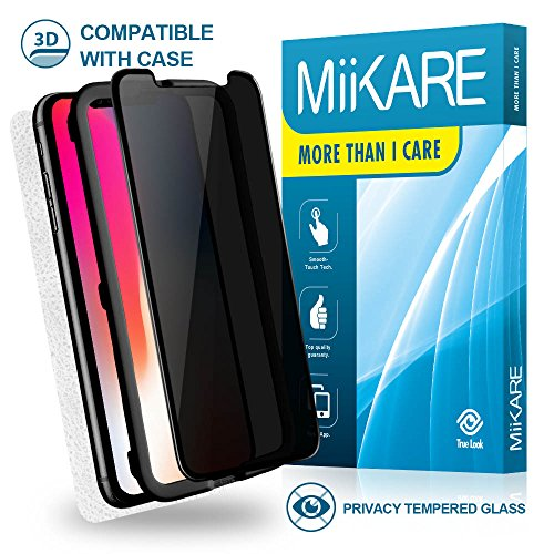 iPhone x tempered glass Screen Protector [custodia amichevole] [FACILE installazione], Miikare [3D Glass] [filtro privacy anti-spy] [] [anti-graffi] pellicola