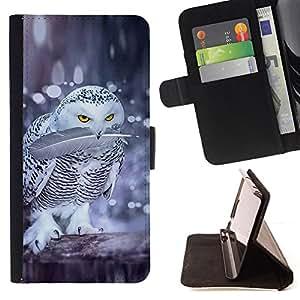 BullDog Case - FOR/Sony Xperia Z3 D6603 / - / owl fight birds nature winter funny snow /- Monedero de cuero de la PU Llevar cubierta de la caja con el ID Credit Card Slots Flip funda de cuer