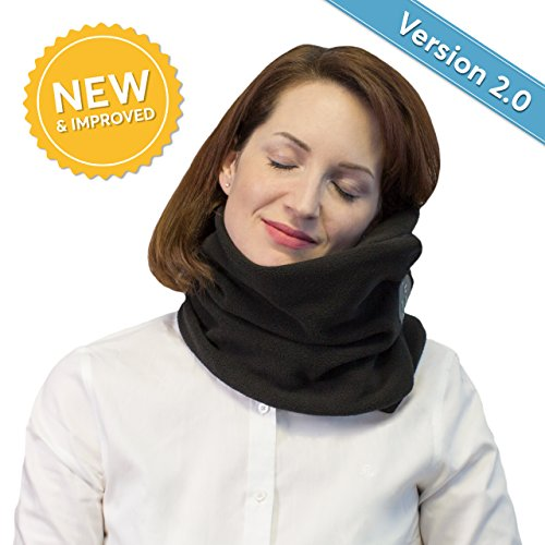 (Neck Support Travel Pillow - Temperature Control Breathable Material - Cozy Soft Support Scarf Wrap - Portable Lightweight Compact for Airplanes - Travel Pillows for Airplanes (Black))