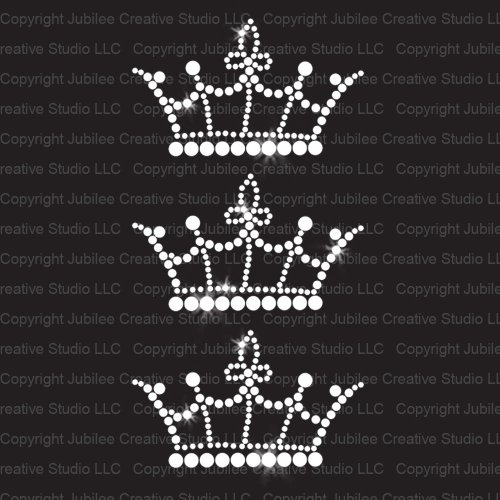 Set of 3 Crown Iron On Rhinestone Crystal T-Shirt Transfers by JCS Rhinestones ()