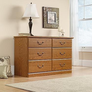 Sauder 401410 Carolina Oak Finish Orchard Hills Dresser, 6 Drawer - Oak Finish Chest Of Drawers