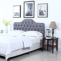 Classic Deluxe Tufted Grey Fabric Headboard (Full)
