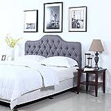 Divano Roma Furniture Classic Deluxe Tufted Grey Fabric Headboard (Full)