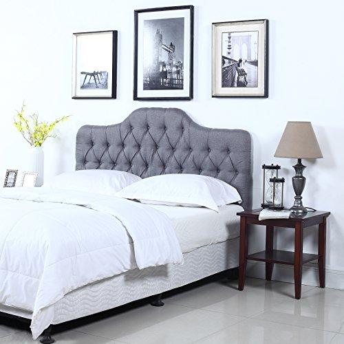 Divano Roma Furniture Classic Deluxe Tufted Grey Fabric Headboard (Full) by Divano Roma Furniture