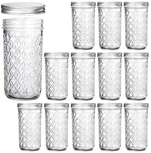 (Wide Mouth Mason Jars 22 oz, VERONES 22 OZ Mason Jars Canning Jars Jelly Jars With Wide Mouth Lids, Ideal for Jam, Honey, Wedding Favors, Shower Favors, Baby Foods, 12 PACK)
