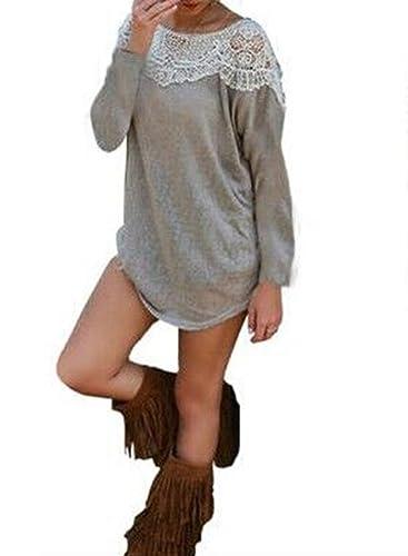 Camicia Donna Eleganti Maglietta Manica Lunga Autunno T-Shirt In Pizzo Grigio Sciolto Top Colore Solido Rotondo Collo Camicie Primavera Blusa Moda Ragazza
