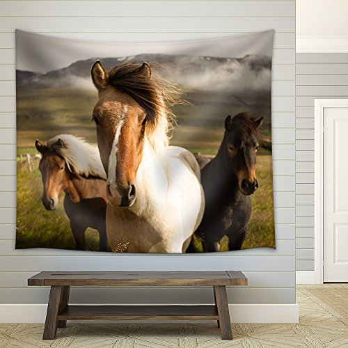 Horses in the Field Fabric Wall