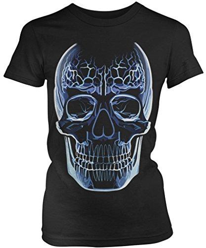 Glass Skull, Crystal Skull Junior's Ladies T-shirt, Amdesco, Black Medium