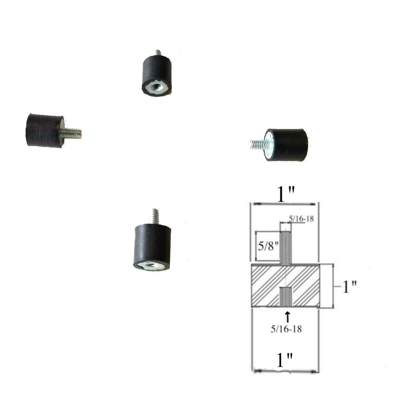 5//16-18 x 3//4 Long Studs 1-1//4 Rubber Diameter x 3//4 Rubber Height 4 Rubber Vibration Isolator Mounts