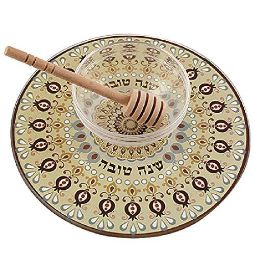 Quality Judaica Modern Reinforced Glass Apple and Honey Dish for Rosh Hashanah, Gold (Rosh Apples Hashanah)