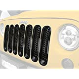 2007-2015 Jeep Wrangler Clip-in Front Mesh Grille Inserts for Jeep JK & Wrangler Unlimited (Gloss Black,Pack of 7)