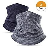 LONGLONG Neck Warmer Gaiter- Winter Thicken Windproof Elastic Fleece Skiing Face Scarf (Style2(Grey+Blue))
