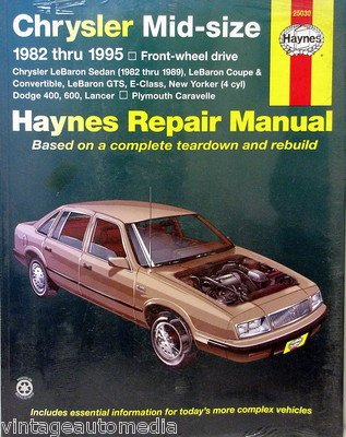 1982-1995 NEW Haynes Repair Manual - Chrysler Mid-Size Cars - FWD - #25030 ()