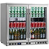 KingsBottle 169 Can 2-Door Under Counter Beverage Cooler with Heating Glass, Stainless Steel