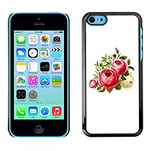 MOBMART Carcasa Funda Case Cover Armor Shell PARA Apple iPhone 5C - Strawberry Colored Flowers