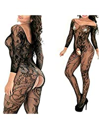 MyKiss Sexy Lingerie Women Fishnet Sheer Open Crotch Body Stocking Bodysuit Lingerie