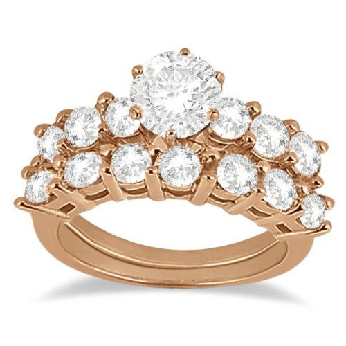 Anillo De Compromiso De Diamantes 0.65ct Con Hacer Juego Compromiso Band 18k De Oro Rosa