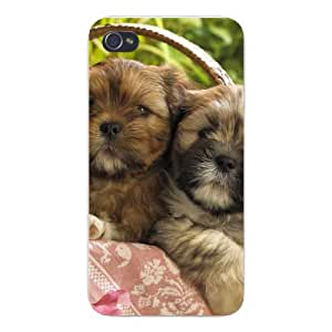 Apple Iphone Custom Case 5 / 5s White Plastic Snap on - Cute Puppy Dog Twins in a Basket