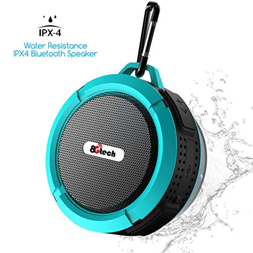 Shower Speaker, 8Gtech IPX5 Waterproof Bluetooth Speaker with 6H Playtime, 5W Big Sound, Built-in Mic, Portable Speaker with Suction Cup & Sturdy Hook, Suit for Bathroom, Hiking, Biking, Pool