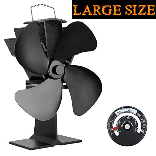 KINDEN Fireplace Fans 4-Blade - Heat Powered Stove Fan for Wood Log Burner Ultra Quiet Increases 80% More Warm Air than 2 Blade Eco-Friendly with Stove Thermometer (Aluminium Black,Large Size) ()