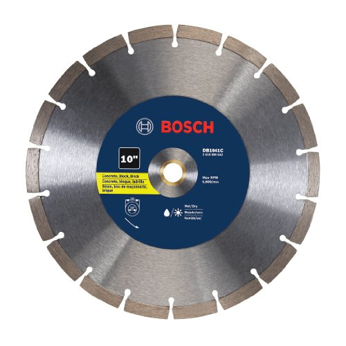 Brick Tile Saw - Bosch DB1041C 10 In. Premium Segmented Rim Diamond Blade for Universal Rough Cuts