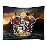 AMNYSF Gryffindor College Badge in Harry Potter Movie Tapestry Wall Hanging Magic School Logo Fantasy Burning Castle Decor Tapestries for Bedroom Living Room Dorm 70x70 Inch