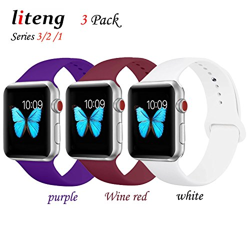 for Apple Watch Band, LITENG Durable Soft Silicone Replacement iWatch Band Sport Style Wrist Strap for Apple Watch Band 42mm Series 3 Series 2 Series 1 Sport (3 Pack(Purple+Wine red+White), 42mm S/M) by Liteng