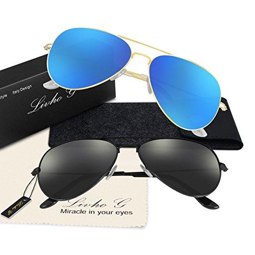 Livhò G Sunglasses for Men Women Aviator Polarized Metal Mirror UV 400 Lens Protection Black Grey+gold Navy Blue