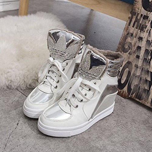 Sneakers Alte E Alla Moda Da Donna, Scarpe Con Zeppa, Scarpe Tacco Alto, Scarpe Tacco Basso Bianche