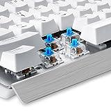 Eagletec KG011 Wired Keyboard USB Natural Ergonomic Mechanical Keyboard Illuminated Backlit 104 Keys for Business Home Office Desktop PC Computer Industrial Aluminium White Keyboard Design