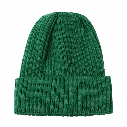 WITHMOONS Knitted Ribbed Beanie Hat Basic Plain Solid Watch Cap AC5846 (Green)