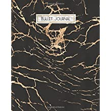 Bullet Journal: Black Gold Marble Lightning, 160 Dot Grid Pages, 8 x 10 Blank Bullet Journal Notebook with 1/4 inch Dotted Paper, Perfect Bound Softcover for Men