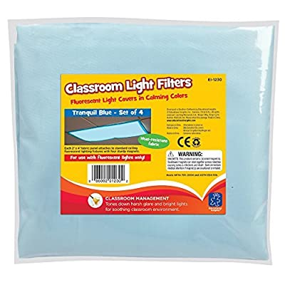Educational Insights Classroom Light Filters 2' X 4' Tranquil Blue Pack of 4 | Educational Computers