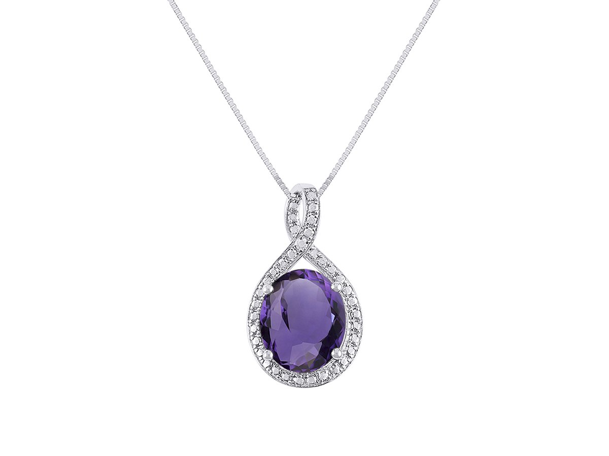 Diamond & Amethyst Pendant Necklace in 14K White Gold With 18'' Gold Chain - February Birthstone 12X10 Oval Color Stone Halo Designer