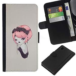 NEECELL GIFT forCITY // Billetera de cuero Caso Cubierta de protección Carcasa / Leather Wallet Case for Sony Xperia Z1 L39 // Pin del vintage encima